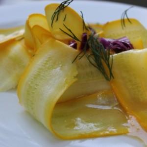 Summer Squash Ribbon Salad with Lemon-Dill Vinaigrette (Raw) & My Vegan Dog