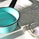 Vintage Enamel Turquoise Pot