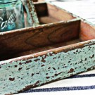 Vintage Turquoise Silverware Caddy~Desk Organizer~Plant Holder~Tool Caddy