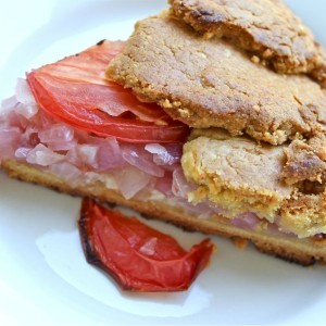 Red Onion, Tomato, Double Cheese Galette with Corn & Garbanzo Crust