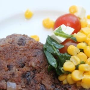 Black Bean Burgers & Lime-Poblano Corn Salad & Waiting