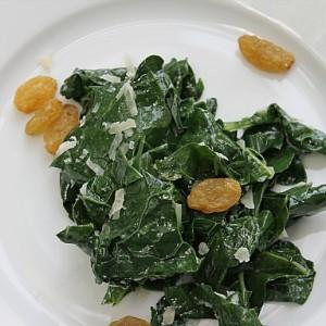 Kale Salad with Parmesan and Golden Raisins & Making Progress